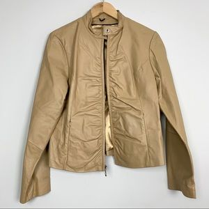 Wilsons Leather Moto Jacket Ruched Tan Size Large